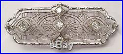 Art Deco 14k Gold, Platinum & Diamond Brooch Pin approximate. 50ct Tw