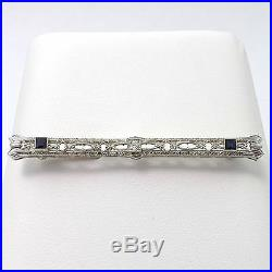 Art Deco 14k White Gold Diamond Sapphire Bar Brooch Pin Open Filigree