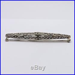 Art Deco 14k White Gold Diamond Sapphire Filigree Bar Brooch Pin 4.1gr