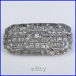 Art Deco 18K White Gold Rose & Brilliant Diamond Pin Brooch Geometric Filigree