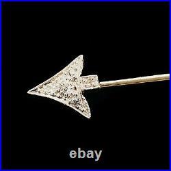 Art Deco 18ct, 18k, 750 Gold Sureté, Diamond Arrow, Jabot, Brooch pin, 1920's
