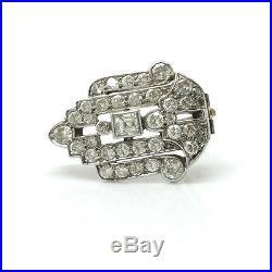 Art Deco 18ct, 18k, 750 White Gold Diamond 1.55ct brooch, pin C1920