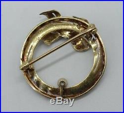 Art Deco Antique Filigree 14K WithGold Diamond Enamel Circle Brooch Pin Krementz