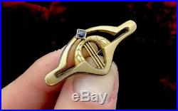 Art Deco Brooch Pin Gold gilt with blue paste stone Superb antique jewellery