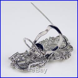 Art Deco Diamond Double Clip Brooch Pin Platinum & 18 kt White Gold #6943
