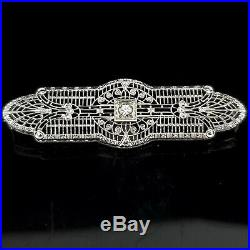 Art Deco Era Diamond 14k White Gold Filigree Bar Brooch Pin Estate Vintage 1930s