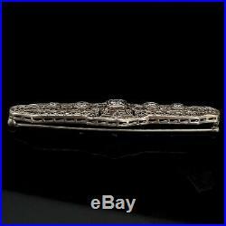 Art Deco Era Old Cut Diamond 14k White Gold Filigree Bar Brooch Pin Gift c. 1920s
