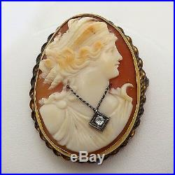 Art Deco Gold Filled Diamond Habille Necklace Carved Cameo Brooch Pin Pendant
