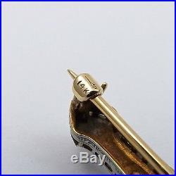 Art Deco Platinum & 14k Yellow Gold Guilloché Enamel Diamond Bar Brooch Pin 6.7g