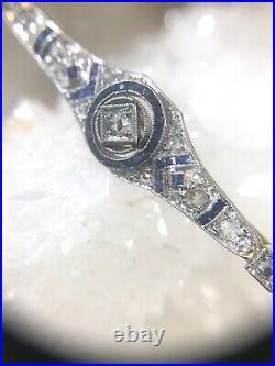 Art Deco Platinum 18K Gold Diamond and Sapphire Brooch Pin 2.25 x. 37