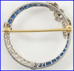 Art Deco Sapphire Diamond Circle Pin Brooch 14k White Gold
