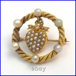 Art Nouveau14K Gold Seed Pearl Dangle Heart in Circle Brooch Pin 4.7 gr