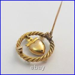 Art Nouveau14K Gold Seed Pearl Dangle Heart in Circle Brooch Pin 4.7 gr