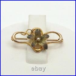 Art Nouveau 10k Gold Iridescent Enamel Pansy Flower Seed Pearl Brooch Pin