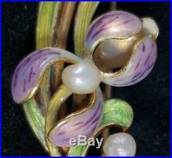 Art Nouveau 14K Gold Enamel Pearl Iris Flower Pin Brooch-Art Nouveau Jewely 3.2g