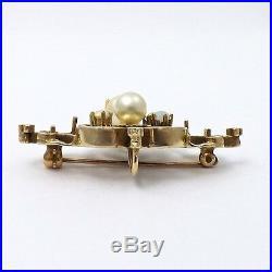 Art Nouveau 14K Gold Opal Pearl Brooch Pin Pendant 7.8gr