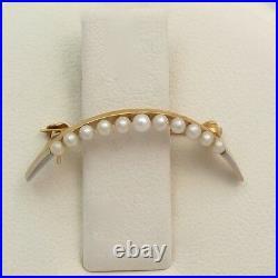 Art Nouveau 14K Gold & Platinum Seed Pearl Crescent Moon Brooch Pin 1.4 gr
