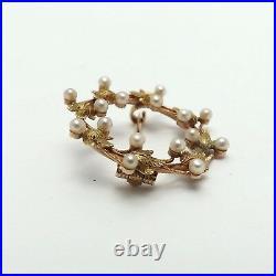 Art Nouveau 14K Gold Seed Pearl Laurel Wreathe Circle Whimsical Brooch Pin