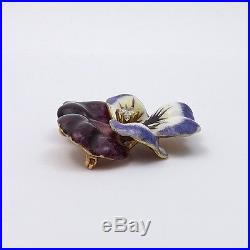 Art Nouveau 14K Gold Signed LIB Diamond Enamel Pansy Brooch Pin Pendant 13.6gr