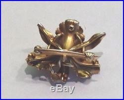 Art Nouveau 14K Gold Whiteside + Blank Iridescent Enamel Pearl Orchid Brooch Pin