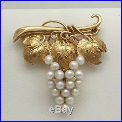 Art Nouveau 14k Gold Akoya Pearl Grapevine Grape Cluster Brooch Pin
