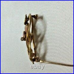 Art Nouveau 14k Gold Enameld Diamond Brooch Pin Hallmarked Krementz