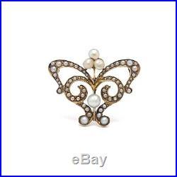 Art Nouveau 14k Gold Micro Seed Pearl Scroll Design Brooch Pin