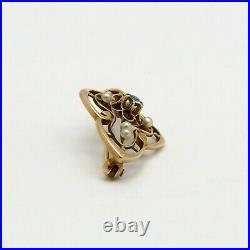 Art Nouveau 14k Gold Natural Mine Cut Light Blue Sapphire Seed Pearl Brooch Pin