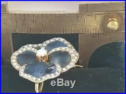 Art Nouveau 14k Gold Pearl Opal Enamel Pansy Brooch Pin/14k Gold Enamel Pendant