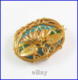 Art Nouveau 14k Gold Plique a Jour Enamel & Diamond Brooch Pin By Riker Brothers