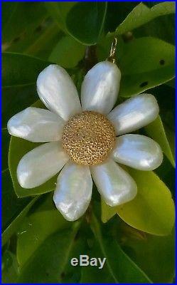 Art Nouveau 14k Gold River Pearl Flower Pendant Brooch Charles Crossman/14k Pin