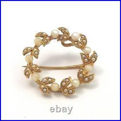Art Nouveau 14k Gold Seed Pearl Laurel Wreathe Circle Brooch Watch Pin 3.2gr
