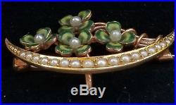 Art Nouveau 14k Pearl Enamel Clover Crescent Moon Brooch Watch Pin/Krementz Gold