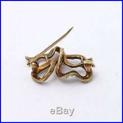 Art Nouveau 14k Rose Gold Seed Baroque Pearl Bow Ribbon Brooch Pin 3.8gr