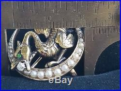 Art Nouveau 14k Yellow Gold Diamond Pearl Griffin Crescent Moon Brooch Watch Pin
