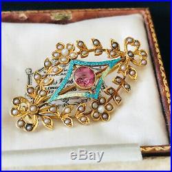 Art Nouveau 15ct, 15k, 625 Gold, Tourmaline, Enamel & seed pearl brooch, pin
