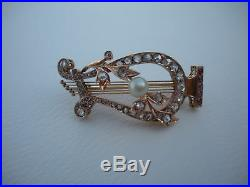 Art Nouveau 19th Century Musical 18K Gold Diamonds Rubbies Lyre Harp Brooch Pin