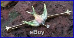 Art Nouveau Antique Enamel Swallow Diamond 14k Yellow Gold Brooch Pin Krementz