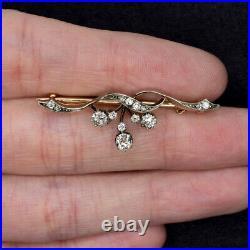 Art Nouveau Diamond 14k Gold Pin Pendant Vintage Floral Antique Necklace Brooch