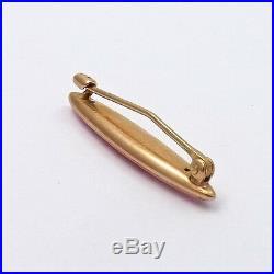 Art Nouveau Krementz 14k Rose Gold Pink Enamel Baby Girl Bar Brooch Pin 1.3gr