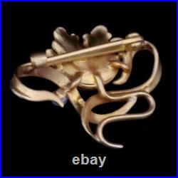 Art Nouveau Pearl 14k Yellow Gold Brooch Pin Tulip Flower Antique Estate Gift