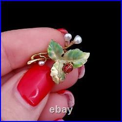 Art Nouveau Pearl Enamel 14k Yellow Gold Brooch Pin Ladybug on a Leaf Antique