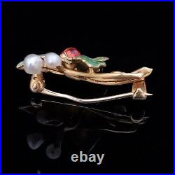 Art Nouveau Pearl Enamel 14k Yellow Gold Brooch Pin Ladybug on a Leaf Antique