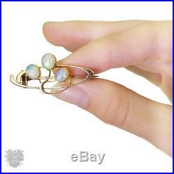 Art Nouveau antique 15ct gold solid natural opal brooch pin Jugendstil