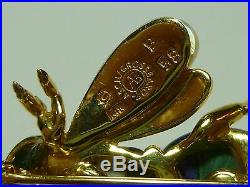 Asch Grossbardt 14k Yellow Gold Bumblebee Bee Bug Mop Lapis Stone Brooch Pin