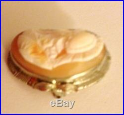 Athena Goddess Of War Antique 14k White Gold Pin Coral Shell Cameo Brooch