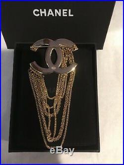 Auth CHANEL CC Logo Brooch Pin XL size Pearl/Crystal/Multi Chain France