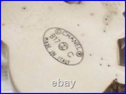 Auth CHANEL CC Logo Pin Brooch Pink/Brown/Goldtone Enamel/Metal e46820e