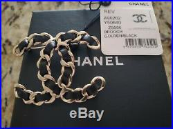Auth. Chanel 2018 Nwt Large CC Logo Brooch Pin Black Leather/gold Tone Metal