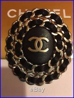 Auth Chanel CC Logo Black Leather Chain Brooch Pin Large Gold Tone, Sale